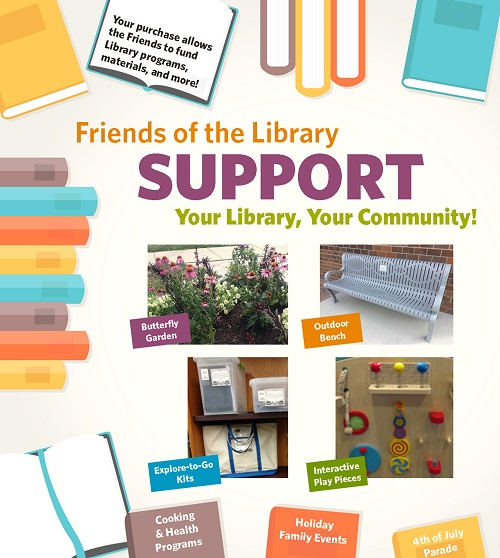 "Poster that reads ""Friends of the Library support your library and your community."" Includes photos of Library's Explore-to-Go Kits, butterfly garden, interactive play items for children, and outside seating."
