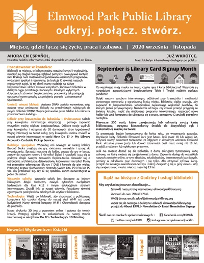 Cover of the most recent library newsletter in Polish.
