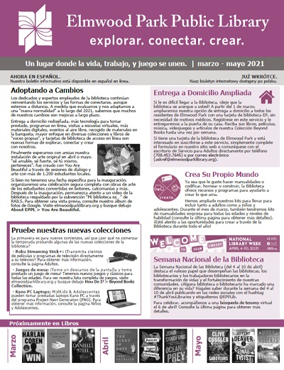 Cover of most recent library newsletter in Spanish.