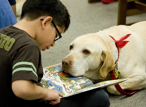 Image result for kids reading to dogs